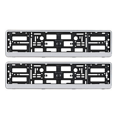 2x SILVER AUDI S LINE NUMBER PLATE SURROUNDS HOLDER FRAME FOR ANY AUDI CAR