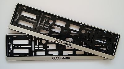 2x SILVER AUDI NUMBER PLATE SURROUNDS HOLDER FRAME FOR ANY AUDI A1 A2 A3 A4 A5