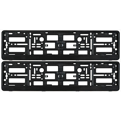 2x BLACK NUMBER PLATE SURROUNDS HOLDER FRAME FOR ANY AUDI CARS A3 A4 A5 A6