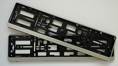 2x SILVER  NUMBER PLATE SURROUNDS HOLDER FRAME FOR ALL CARS