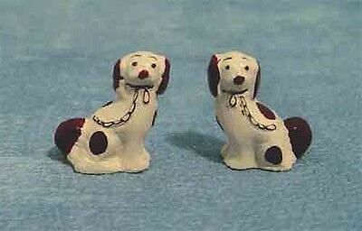 Pair Of Staffordshire Dogs White & Brown, Dolls House Miniature Pets & Animals