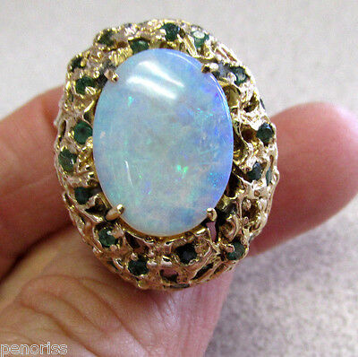 Beautiful Large Estate Opal & Emerald Ring 14k Gold size 8   Make Offer