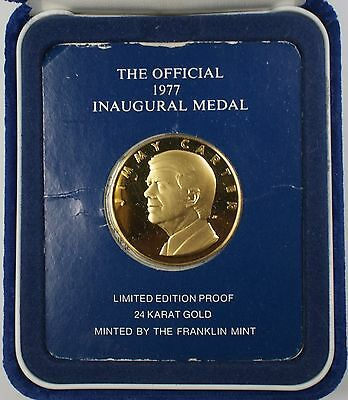 1977 Jimmy Carter Official Inaugural 24 kt Gold Gem Proof Medal in Box with COA