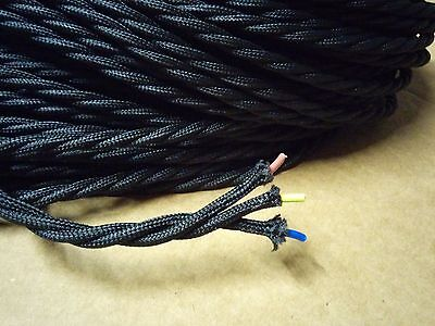 Simple Vintage 3-Wire Twisted Cloth Covered Wire Antique Pendant Lamp Cord Black
