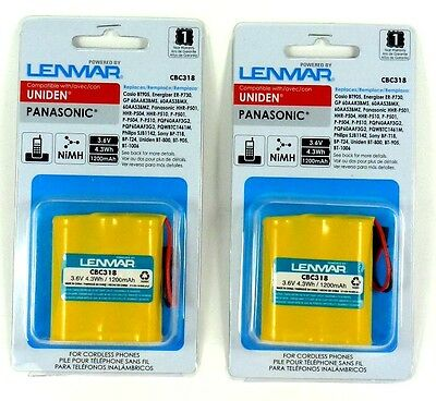 Lot of (2) LENMAR CBC318 Sony,Uniden Cordless Phone Battery for BT905/BP-T18