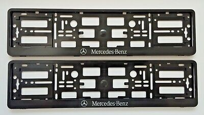 2x BLACK NUMBER PLATE SURROUNDS HOLDER FRAME PAIR FOR ANY MERCEDES-BENZ CARS VAN