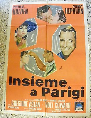 Manifesto Insieme A Parigi Audrey Hepburn William Holden Richard Quine V3 2F