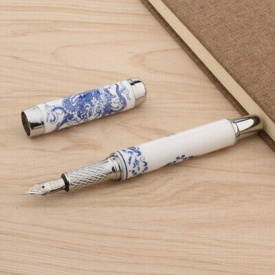 Jinhao Blue and White Porcelain With Dragon Painting Medium Nib Fountain Pen