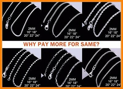 Wholesale 925 Sterling Silver Filled 2MM Necklace Chains For Pendants 16 - 24""