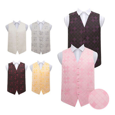 "DQT Premium Diamond Patterned Tuxedo Vest Wedding Men's Waistcoat Chest 36""-50"""