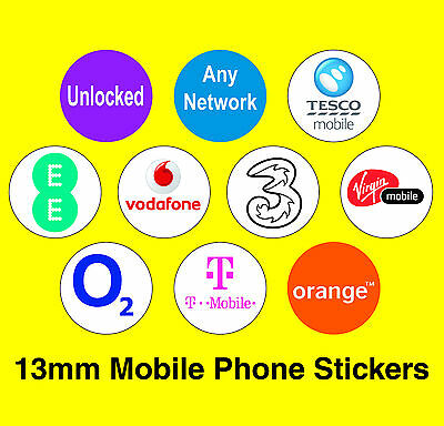 Mixed Pack Of 10 Mobile Phone Network Stickers - Vodafone / Orange / EE / 3 etc