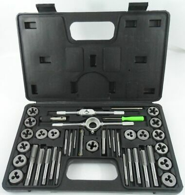 40pc Metric Tap & Die Set w/ Case Screw Extractor Remover Kit Thread Cleaner NEW