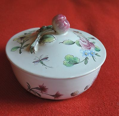 Antique 19th century French Tin Glaze Faience Pottery Veuve Perrin Sugar Bowl