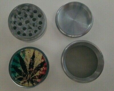 "Rasta Flag Sticker 2"" Metal Herb Spice Crusher Grinder 4 Piece Sharp Teeth"
