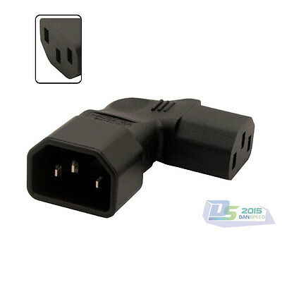 IEC 320 C14 to Right Angle C13 Male to Female AC Power Adapter for Wall Mount TV