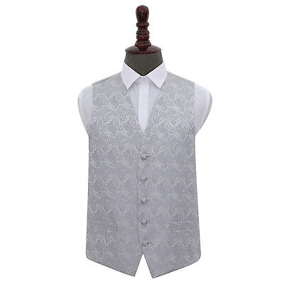 DQT Woven Floral Paisley Silver Formal Mens Wedding Waistcoat S-5XL
