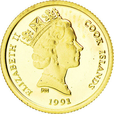 [#89947] COOK ISLANDS, 25 Dollars, 1991, KM #239, MS(65-70), Gold, 1.27
