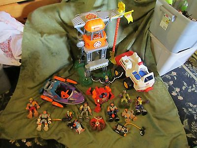 Fisher Price Rescue heroes world Tower Boat Firetruck Command Center people