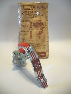 Vintage NOS CHROME Door Pulls RED Lines & RED Plastic Trim w Push Button Catch