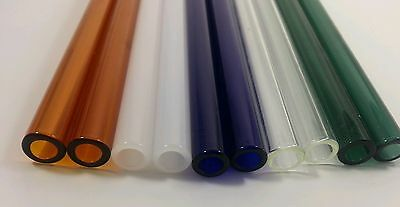 "8"" Long Pyrex Glass Blowing Tubing 12 mm OD 8mm ID Thick Wall 10 Drinking Straws"