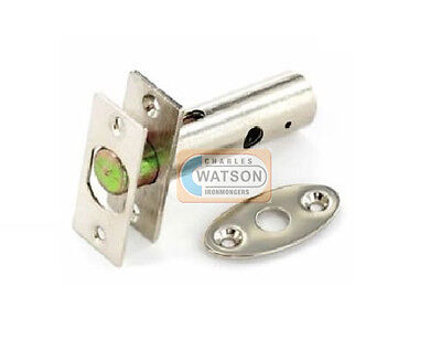 55mm NICKEL PLATED SECURITY DOOR BOLT Dead Rack Lock Silver with or without Key