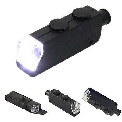 Pocket Microscope 60X-100X Zoom Power Magnifying Loupe Magnifier with LED Light