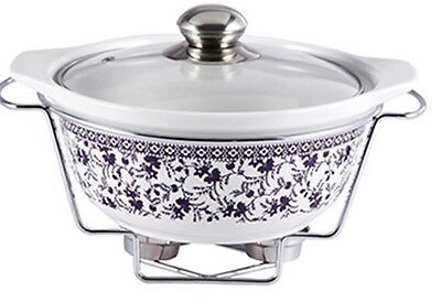 WB-12914 Fern Nera Porcelain Chafing Dish Food Warmer Chafing Dishes 2.2 Litres