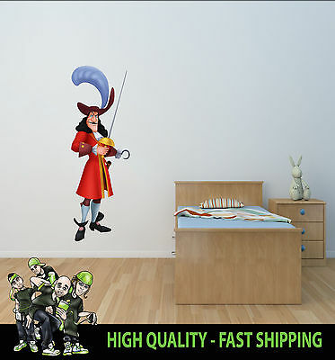Printed Wall Art Captain Hook Peter Pan Graphic Sticker Kids Bed Room