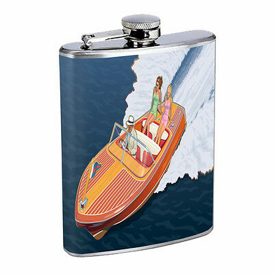 Vintage Cowgirl Hip Flask D4 8oz Stainless Steel Old Fashioned Retro