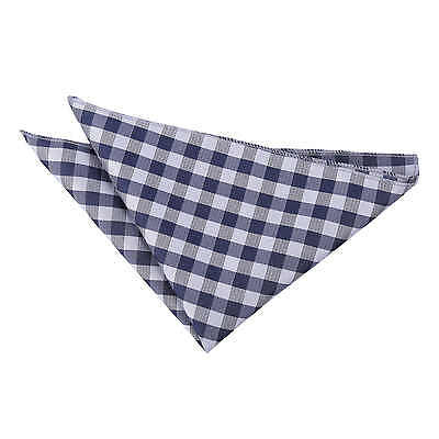 DQT Woven Gingham Check Checkered Navy Blue Casual Handkerchief Hanky