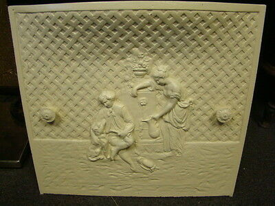 Antique Late 1800's Cast Iron Fireplace Cover Very Ornate Boy With His Dog