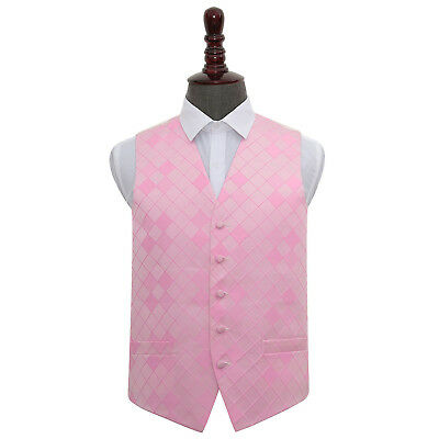 DQT Woven Diamond Patterned Light Pink Formal Mens Wedding Waistcoat S-5XL