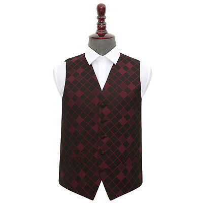 DQT Woven Diamond Patterned Burgundy Formal Mens Wedding Waistcoat S-5XL