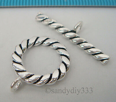 1x BALI OXIDIZED STERLING SILVER TWIST ROPE ROUND TOGGLE CLASP 15.3mm #2038