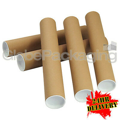 250 x A3 Quality Postal Cardboard Poster Tubes Size 330mm x 50mm + End Caps 24HR