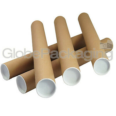 5 x A2 Quality Postal Cardboard Poster Tubes Size 460mm x 50mm + End Caps