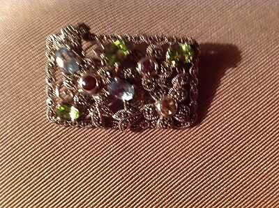 Silver Marcasite Pin Brooch With Multi-Colored Fine Gemstones