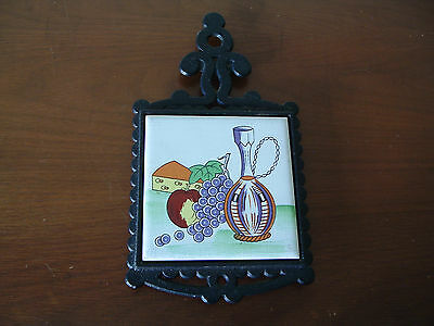 Vintage Cast Iron and ceramic tile trivet / wall hanging - Cheese & Fruit  Japan