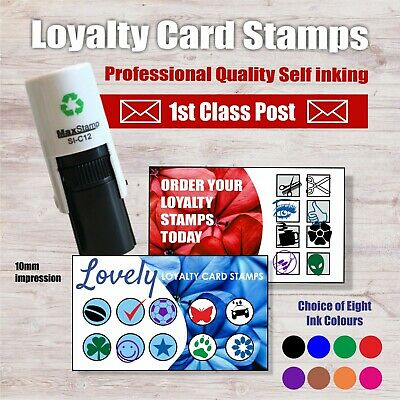Loyalty Card Stamp APPLE PINT BURGER COFFEE BEAN CUP SAUCER 10MM 1st Class Post