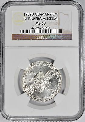 1952-D 5 Mark Silver Centenary-Nurnberg Museum Germany NGC MS-63