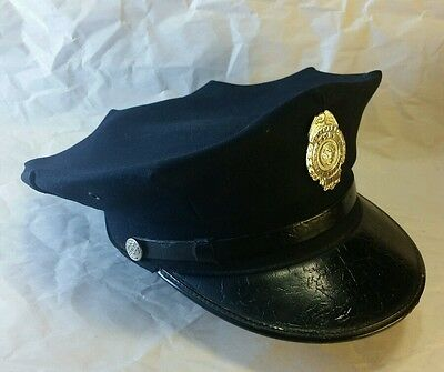 Vtg 50's wool leather FIREMAN Bremerton Wash. FIRE DEPARTMENT #1 HAT CAP