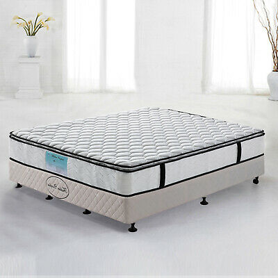 Double Queen King Single 28cm Pocket Spring Latex Memory Pillow Top Bed Mattress
