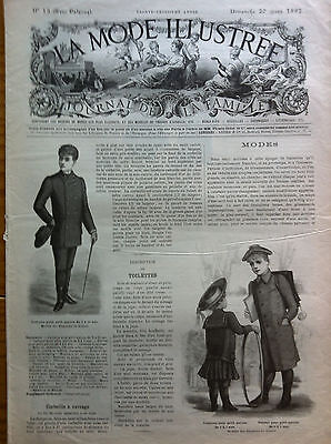 ORIGINAL French MODE ILLUSTREE March 20,1892 + original sewing pattern
