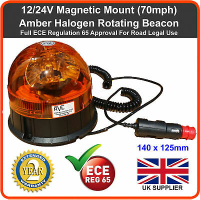 Rotating Flashing Amber Hazard Beacon 12v MAGNETIC MOUNT tractor van truck led