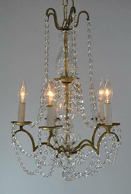 Vintage Italian Brass Tone and Chrystal Chandelier Light Fixture with Five Arms