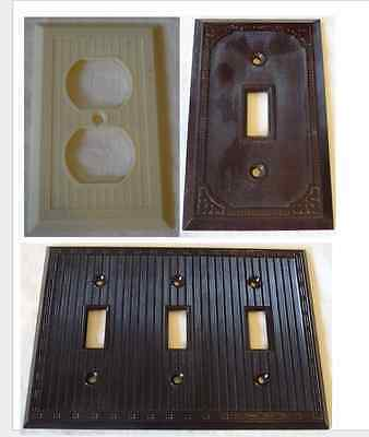 Vintage Art Deco Frame Style Outlet Cover Switchplate Ivory or Brown