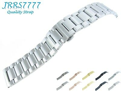 26mm Watch Bracelet Stainless Steel Silver Brushed 3 Row Solid Link Deployment