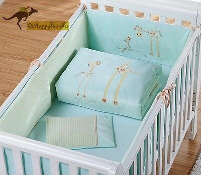 New Baby Boys Girls 7 Pieces Cotton Nursery Bedding Crib Cot Sets-- Blue Giraffe