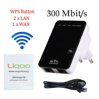 Wifi Repeater Router Mini WLAN HotspotExpander Booster Bridge Wireless 300Mbps