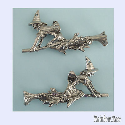 PEWTER CHARM #336 WITCH ON BROOM 54mm(w) x 34mm(h) 1 hole 3D double sided